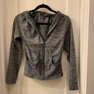 Aura workout zippered gray hoodie jacket
